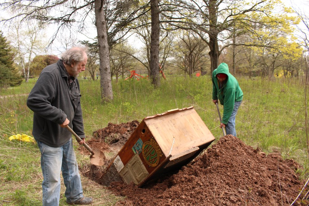 HIDDEN LOSSES, Gary and his son, Joshua, in the first stage of creating The Body Farm
